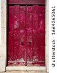 Old Wooden Door. Picture Of Red ...