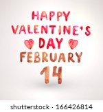 watercolor happy valentines day ... | Shutterstock .eps vector #166426814
