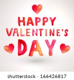 watercolor happy valentines day ... | Shutterstock .eps vector #166426817