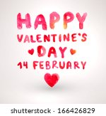 watercolor happy valentines day ... | Shutterstock .eps vector #166426829
