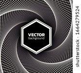 halftone dotted vortex hexagon... | Shutterstock .eps vector #1664279524