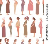 pregnancy motherhood people... | Shutterstock .eps vector #1664283181