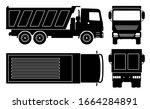 dump truck silhouette on white... | Shutterstock .eps vector #1664284891