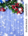 christmas fir tree and red... | Shutterstock . vector #166430525
