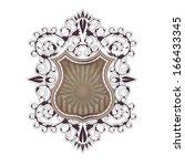 ornate shield label design...   Shutterstock . vector #166433345