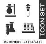 set test tube and flask... | Shutterstock .eps vector #1664371564