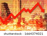 Small photo of Global economic investment on stock market index down panic because of Outbreak Chinese Corona Virus COVID-19 with graph chart candlesticks and red arrow down to imply symbol of China.