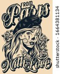 from paris with love vintage... | Shutterstock .eps vector #1664381134