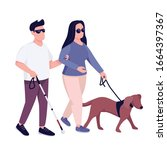 blind man and woman with guide...   Shutterstock .eps vector #1664397367