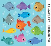 stylized fishes topic image 3   ... | Shutterstock .eps vector #1664399461