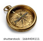 Vintage Brass Compass Isolated...