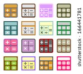 set of 16 colorful flat icons...