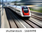 train speeding along its tracks.