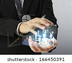 businessman with financial... | Shutterstock . vector #166450391