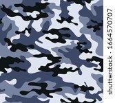 dark blue camouflage pattern... | Shutterstock .eps vector #1664570707