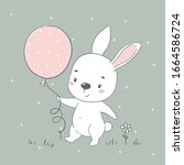 cute baby bunny cartoon vector... | Shutterstock .eps vector #1664586724