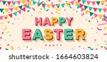 happy easter card or banner... | Shutterstock .eps vector #1664603824