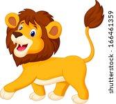 Cute Lion Cartoon Walking