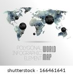 polygonal world map and... | Shutterstock .eps vector #166461641
