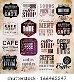 retro coffee  labels and... | Shutterstock .eps vector #166462247