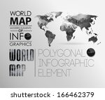 polygonal world map and...   Shutterstock .eps vector #166462379