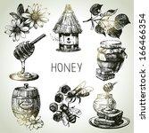 honey set. hand drawn vintage... | Shutterstock .eps vector #166466354