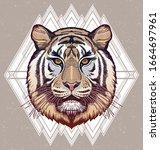 tiger portrait. dreamy magic...   Shutterstock .eps vector #1664697961