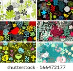 set of six cards with birds and ... | Shutterstock .eps vector #166472177