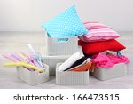 plastic baskets with things in... | Shutterstock . vector #166473515