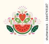 watermelon stylized ilustration.... | Shutterstock .eps vector #1664745187
