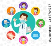 doctor and family wear a... | Shutterstock .eps vector #1664764387