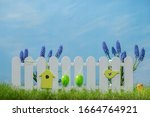 Spring Grass And Wooden Fence...