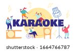 people sing in karaoke club... | Shutterstock .eps vector #1664766787