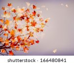 autumn background with leaves.... | Shutterstock .eps vector #166480841