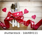 valentines day table setting... | Shutterstock . vector #166484111