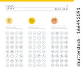 set of basic icons for web and... | Shutterstock .eps vector #166492091