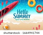 hello summer vector banner... | Shutterstock .eps vector #1664941744