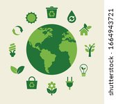 ecology concept. vector... | Shutterstock .eps vector #1664943721