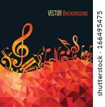music background with fly notes | Shutterstock .eps vector #166495475