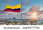 Small photo of Colombia, scenic view of Cartagena cityscape, modern skyline, hotels and ocean bays Bocagrande and Bocachica from the lookout of Saint Philippe Castle