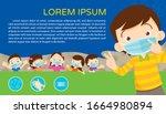 children wear a medical face... | Shutterstock .eps vector #1664980894