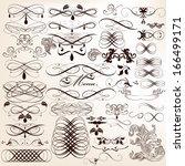 vector set of calligraphic...   Shutterstock .eps vector #166499171