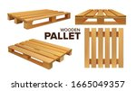 wooden pallet different size... | Shutterstock .eps vector #1665049357