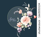 set of card with flower  leaves.... | Shutterstock . vector #1665053134