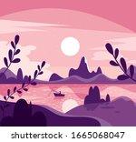 morning vector nature landscape ... | Shutterstock .eps vector #1665068047