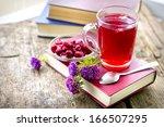 raspberry jam tea romantic... | Shutterstock . vector #166507295
