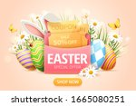 easter sale popup ads with... | Shutterstock .eps vector #1665080251