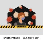 shelter in place. staying at... | Shutterstock .eps vector #1665096184