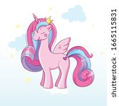magic pony with horn and wings | Shutterstock .eps vector #1665115831