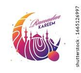 gradient crescent moon with... | Shutterstock .eps vector #1665126997